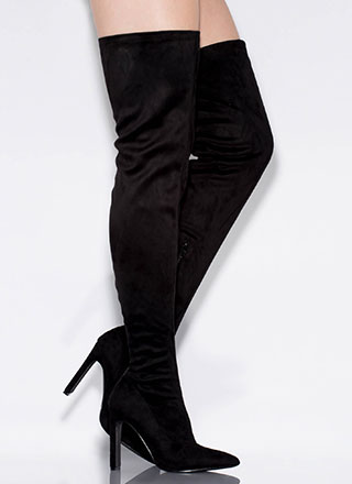Set The Bar High Pointy Thigh-High Boots