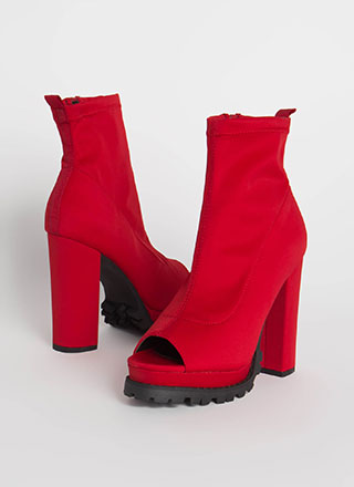 Girl In Love Chunky Peep-Toe Lug Booties
