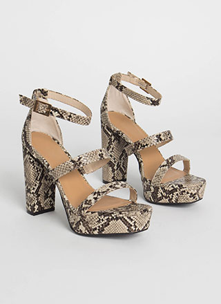 Triple It Strappy Faux Snake Platforms