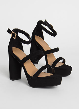 Triple It Strappy Faux Nubuck Platforms