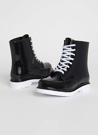 Too Cool For School Glossy Lace-Up Boots
