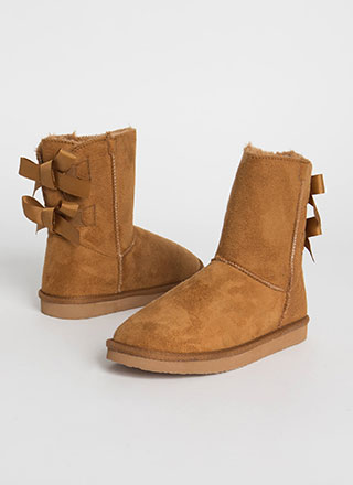 You Bow Girl Short Faux Suede Boots
