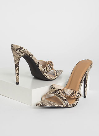 Ring Your X Strappy Faux Snake Heels