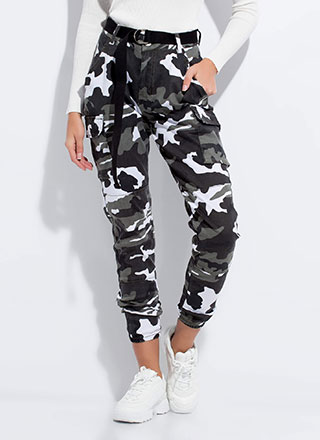 Cool In Camo Belted Cargo Joggers