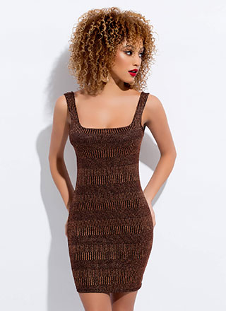 Spotlight Sparkly Striped Knit Minidress