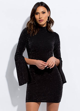 Sparkly Galaxy Slit-Sleeve Minidress