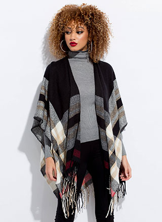 Color Me Plaid Fringed Shawl Poncho