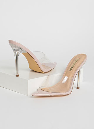 Keep Clear Peep-Toe Lucite Heels