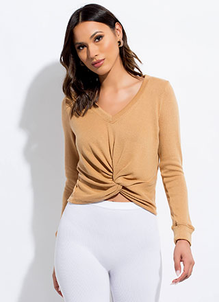 New Addition Twist-Front Knit Top