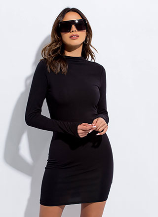 Make It A Basic Long-Sleeved Minidress