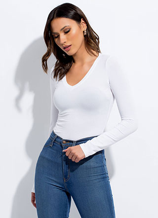 Basic Babe Long-Sleeved V-Neck Top