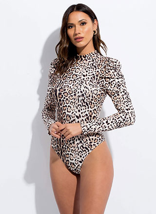 Cat Call Puffy Sleeve Leopard Bodysuit
