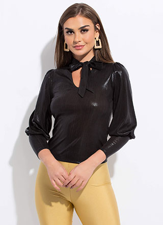 Wow Factor Shiny Tied Puffy Sleeve Top
