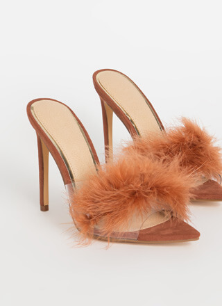 Feather Or Not Clear Peep-Toe Mule Heels