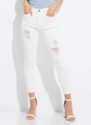 Roughed Up Distressed Denim Skinny Jeans