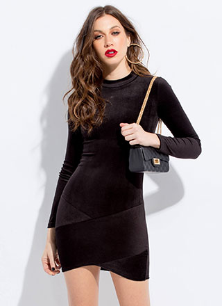 No Overlap Ribbed Velvet Minidress
