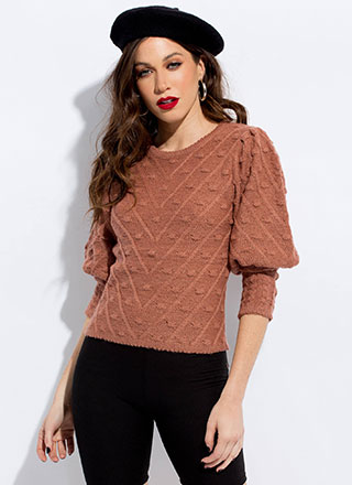 Pom-Poms Away Puffy Sleeve Sweater
