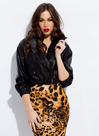Fire Cropped Faux Leather Bomber Jacket