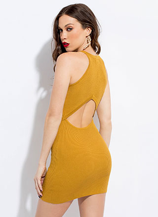 Your Turn Knit Back Cut-Out Minidress