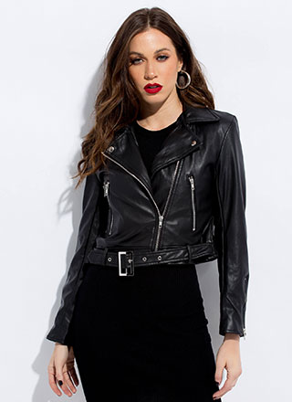 Biker Beauty Faux Leather Moto Jacket