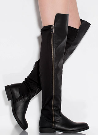 Leg Up Faux Leather Thigh-High Boots
