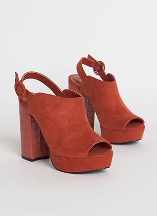 Back To Crocodile Chunky Slingback Heels