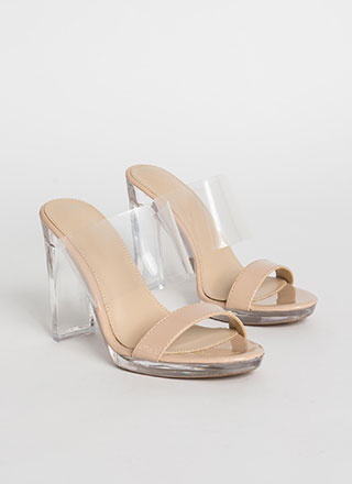 Clear And Now Faux Patent Illusion Heels