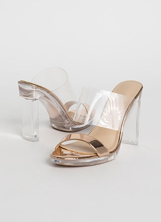 Clear And Now Metallic Illusion Heels