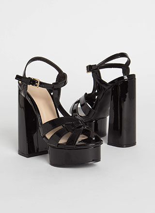 Retro Party Strappy Chunky Platforms
