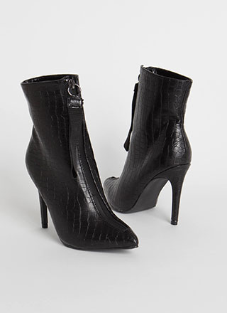 Pull Ahead Zip-Up Faux Crocodile Booties