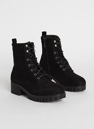 Cool Combat Faux Suede Lace-Up Boots