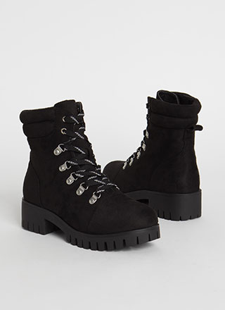Work It Out Faux Suede Lace-Up Boots