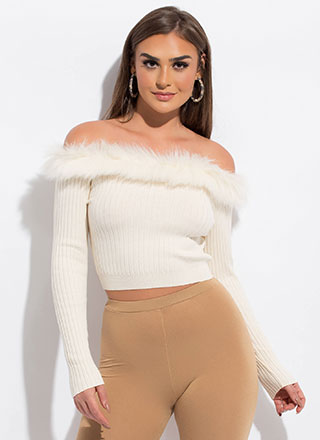 Perfect Fur You Off-Shoulder Crop Top