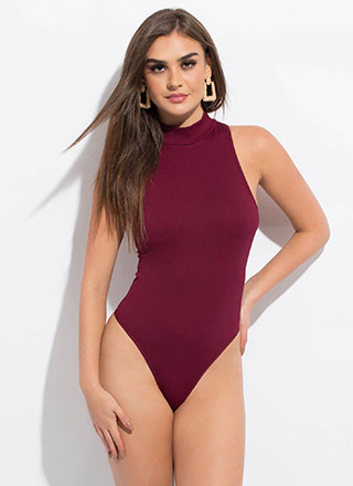 Perfect 'Fit Mockneck Thong Bodysuit