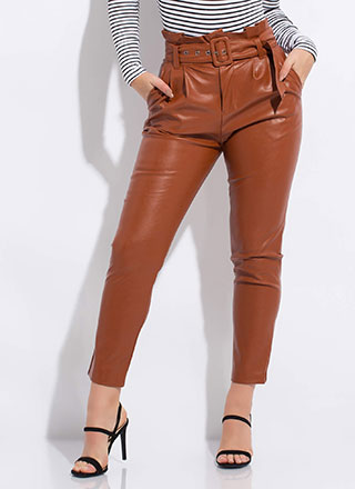 New Life Faux Leather Paper-Bag Trousers