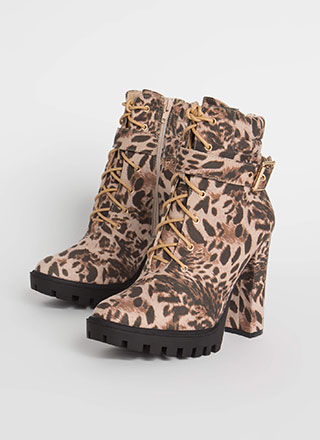 Start Now Leopard Lace-Up Lug Booties