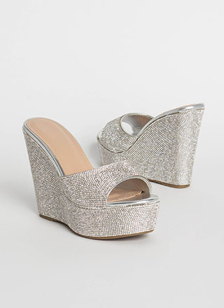 Just Jewels Metallic Platform Wedges