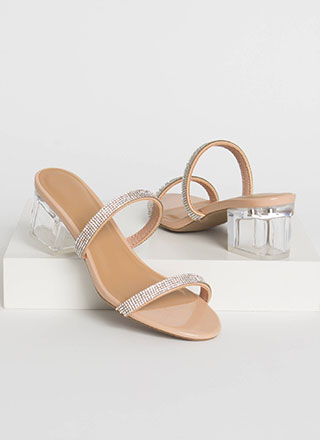 Peak Chicness Jeweled Lucite Block Heels