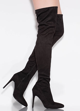 Point It Out Faux Suede Thigh-High Boots