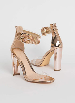 Notch On My Belt Clear Jeweled Heels