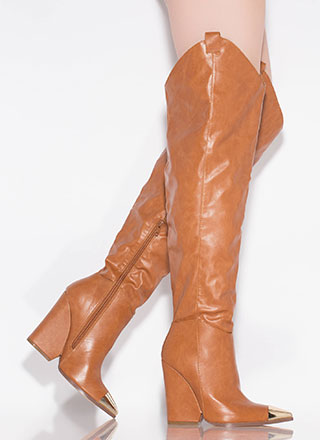 Lasso Cap-Toe Thigh-High Wedge Boots