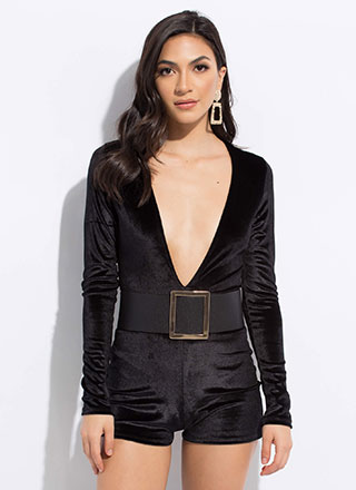 Low And Behold Plunging Velvet Romper