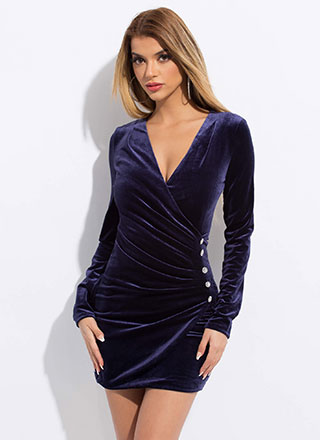 Wrapped In Velvet Jewel Accent Minidress
