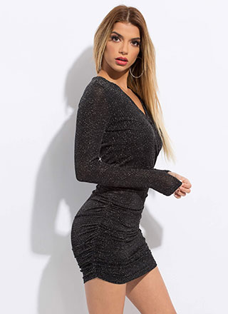 Sparkly Night Sky Ruched Minidress