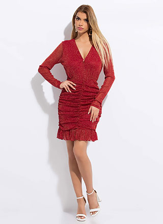 Sparkles Will Fly Ruffled Ruched Dress
