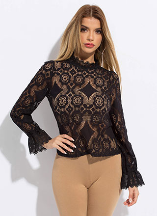 Twinkle Twinkle Ruffled Floral Lace Top