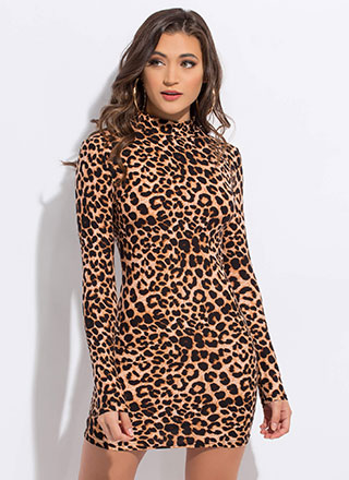 On The Prowl Mockneck Leopard Minidress