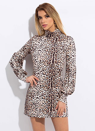 Leopard Love Puff Sleeve Shift Minidress