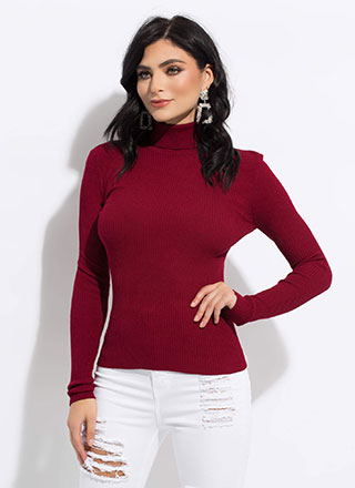 The Classic Rib Knit Turtleneck Top
