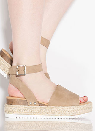 Vacation Time Faux Nubuck Wedge Sandals
